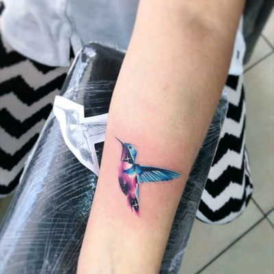 By #AdrianBascur #hummingbird #watercolor #space #galaxy #watercolortattoo #stars