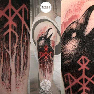 Wardruna inspired raven tattoo 🌑 #wardruna #music #inspiration #raven #darkartists #blackworkers #darkwoods #blackandred #czechtattoo #followme #nayanatattoo #originalartworks #welove Follow my work on fb / insta / tattoodo 👉 @nayanatattoo