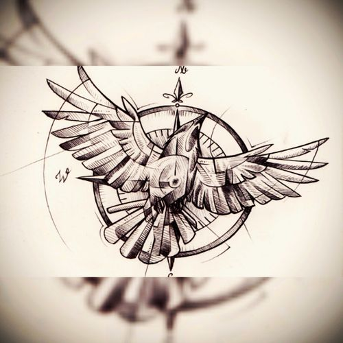 Bird meets compass. #bird #nature #wings #fly #free #freedom #deventer #compass #sea #ocean #captain #skipper #ship #boat #north #east #south #west #circle #geometry #geometric #fineline #finelines #crow #central #TheNetherlands #mothernature