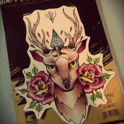Traditional tattoo flash deer