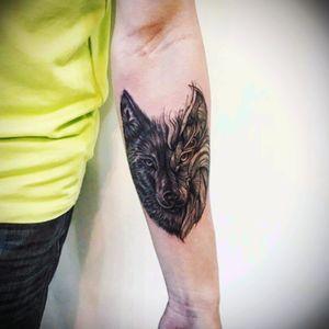 Love my new tattoo #wolf #forearm #yee_tattoo