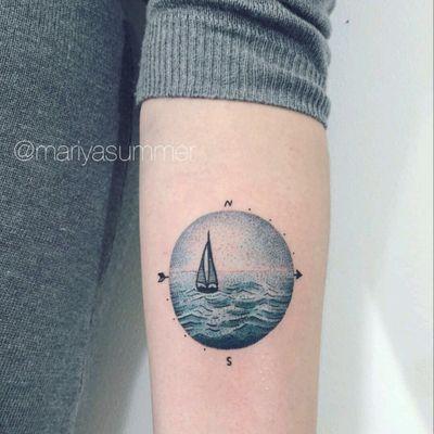By #MariyaSummer #watercolor #boat #ocean #sky #sea #landscape #dotwork
