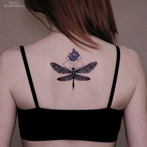 By #DianaSeverinenko #watercolor #dragonfly #crystal #watercolortattoo #dragonflytattoo
