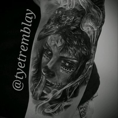 "Progress on a #dayofthedead sleeve. #raven #ladyhead #diadelosmuertos #blackandgrey #realism ""Keeper of Secrets"""