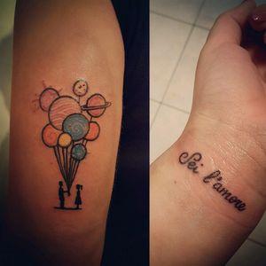 Thanks to my cousin!😘 #pomeriggiintensi #tattoo #ink #tattoopavia #tattoomilano #tattooapprentice #planet #couple #watercolor #watercolortattoo #sketchtattoo #script #scripttattoo #seilamore #sanremo #buonabefana #instapic #picoftheday #working #workinghard