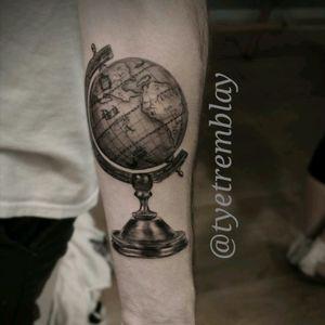 Detailed #globe piece. #traveller #map #world #blackandgrey #realism