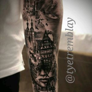 Start to this #germany inspired sleeve... #castle #facemorph #blackandgrey #realism
