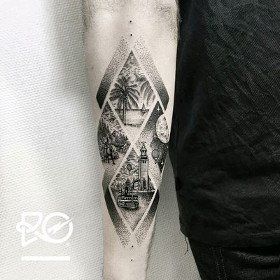 By #robertpavez the 4 dreams #beach #palmtree #stag #mountains #lighthouse #boat #hotairballoon #dotwork #blackwork