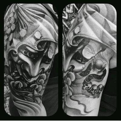 Half sleeve done at Geneva Tattoo Covention on 21st of January 👌 done by UEO Tattoo #tattooconvention #japanesetattoo #japanese #hannya #hannyamask #halfsleeve #black