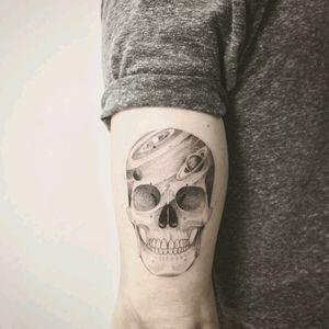 By #Iosep #skull #planets #galaxy #doubleexposure #skulltattoo