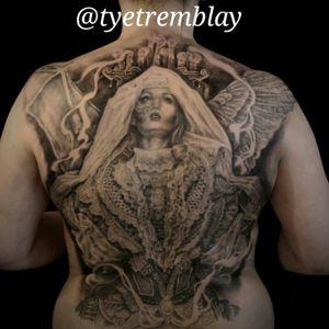 #fullback #GoodVsEvil #angel #demon #lace #blackandgrey #realism