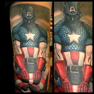 Captain America #inkfusion #inkfusionempire #geektattoo #geekedouttattoos #geeksterink #geekytattoos #comicbooktattoo #nerdytattoos #nerdtattoo #nerd #traditionaltattoo #realtattoos #realtraditional #tattoos #marvel #marveltattoo #marvelcomics #captainamerica #captamericatattoo #captainamericatattoo