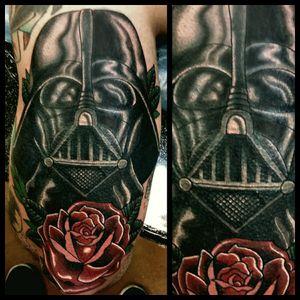 Darth Vader #inkfusion #inkfusionempire #geektattoo #geekedouttattoos #geeksterink #geekytattoos #comicbooktattoo #nerdytattoos #nerdtattoo #nerd #traditionaltattoo #realtattoos #realtraditional #tattoos #starwarstattoo #starwars #darthvader #darthvadertattoo #disneytattoo