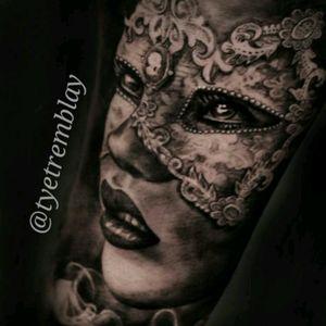 #closeup on this #ornate #ladyface #mask #blackandgrey #realism #portrait