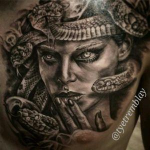 Chest #portrait of #medusa #blackandgrey #snakes #realism