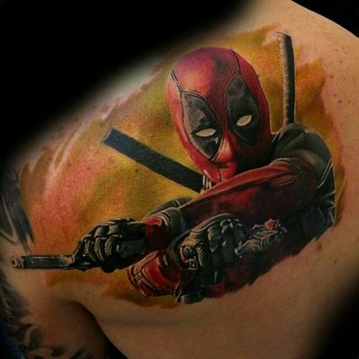 The one and only deadpool 😈#Deadpool #gun #marvel #cool #ArtistUnknown