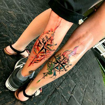 #compass #compassrose #compasstattoo #coupletattoo #tattooedcouples #paperplanetattoo #miamitattoo #rollercoaster