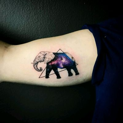 By #ResulOdabas #elephant #galaxy #space #doubleexposure