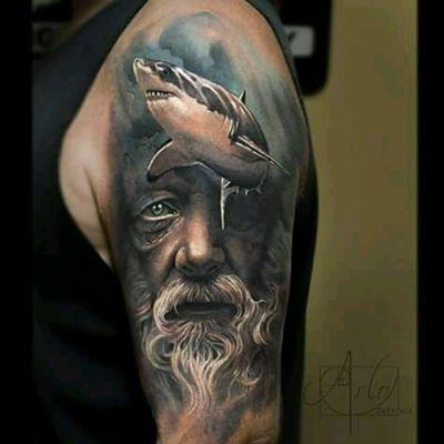 By arlotattoos #shark #oldman #sea @arlotattos