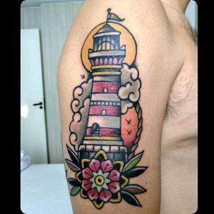 #lighthousetattoo #lighthouse #oldschooltattoo #inked #tattoo #oldschool #brazilian #brazilianartist #braziliantattoo #BrazilianTattooArtists #traditionaltattoo #traditional #traditio