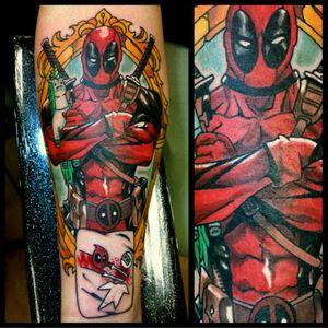 Deadpool #tattoo #inked #skinandink #picoftheday #inkmaster #tattoosnob #lasvegas #lasvegastattoo #veganfriendly #walkinswelcome #lasvegastattooshop #tattoos #summerlintattooartist #lasvegastattooartist #inkfusion #inkfusionempire #geektattoo #geekedouttattoos #geeksterink #geekytattoos #comicbooktattoo #nerdytattoos #nerdtattoo #deadpool #deadpooltattoo #💀💩l #deadpoolmovie