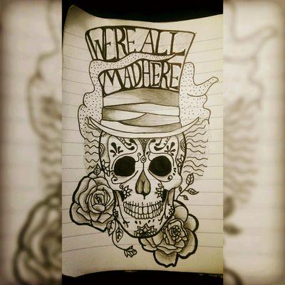 A candy skull mad hatter design #madhatter #aliceinwonderland #mad #hatter #candyskull #diosdelamuerte #dayofthedead #skull #roses #smoke