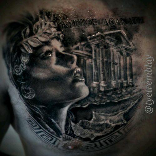 #aphrodite #greekmythology #GreekGoddess #ancientgreece #architecture #ladyface #blackandgrey #realism #portrait