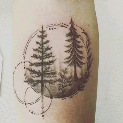 #blackwork #forearm #forest #forestattoo #fineline #circle #tree #dotwork #shadow #landscape #nature #tattoo #herbs #leaves #blackandgrey