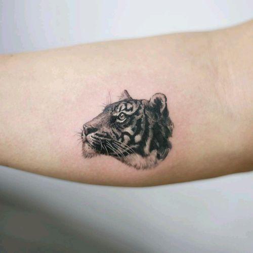 By #tattooistdoy #coverup #tiger #tinytattoo #tigertattoo