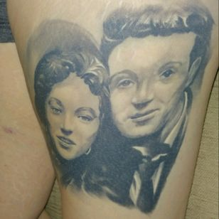 Thigh portrait of my grandparents done by sile sanda at rock n roll glasgow