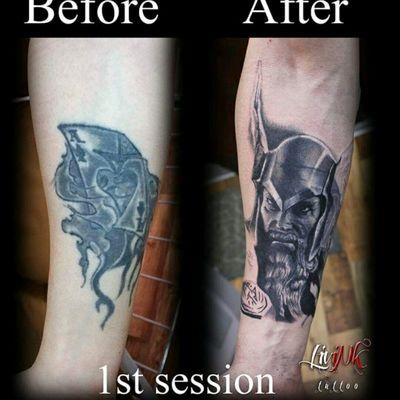 Cover up in progress #tat #tattoo #tattoos #tattooed #ink #inked #inkbe #inklife #art #bastart #bastarttattooproducts #LiviNkTattoo #thor #coverup #scandinavian #norsk #god