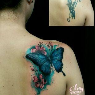 #coveruptattoo #coverup #buterflytattoo #cobertura #tatuagensfemininas #watercolor #watercolortattoo #kellyguesser #tatuadorabrasil #tatuagemborboleta