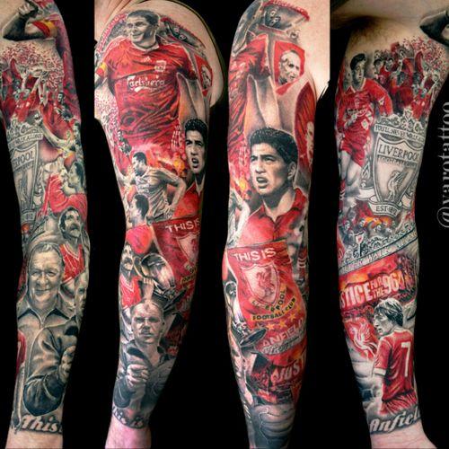 Great #lfc tattoo sleeve #liverpoollfc #yarotattoo #tattoo #realistictattoo #stevengerrard #gerrard #lfc #liverpool #liverpoolfc #ynwa #anfield #suarez