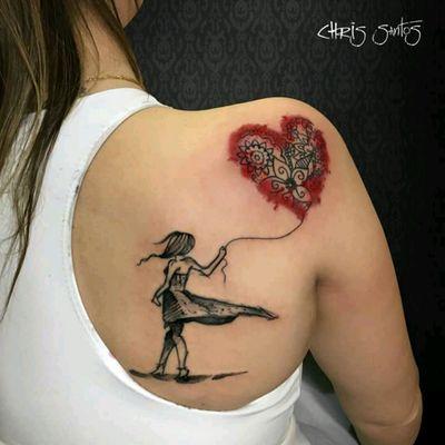 Cute tattoo by Chris Santos #fofa #cute #coração #heart #mandala #colorida #colorful #amor #love #tatuadoresdobrasil #ChrisSantos