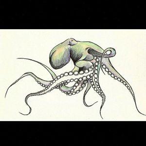 Pencil, pen and coloured pencil. Octopus