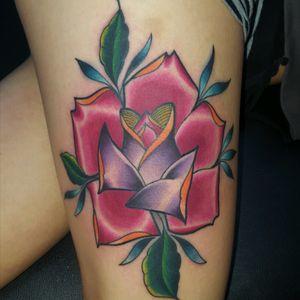 #colorful #rosetattoo #thightattoo #womanwithtattoos #flowertattoo #grantspassoregon