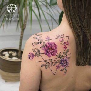 By #koraykaragozler #watercolor #birthdate #flower #floral #nature #watercolortattoo