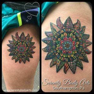 Colorful Star tattooed by Nason Dilts. #serenitybodyarts #southamptonpa #buckscounty #215 #tattoo #tattoos #phillytattoo #phillytattoos #star #startattoo #colorfultattoos #vibranttattoo #flowertattoo #flowertattoos #thightattoo #thightattoos #cutetattoos #cutetattoo