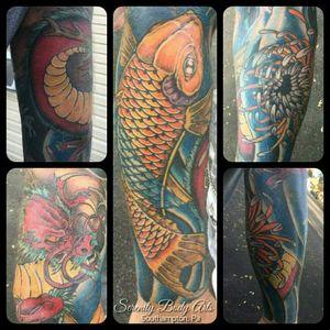 Japanese Traditional Sleeve tattooed by Nason Dilts. #serenitybodyarts #southamptonpa #buckscounty #215 #tattoo #tattoos #phillytattoo #phillytattoos #traditionaltattoo #japanese #japanesetattoo #koi #koifish #koitattoo #dragontattoo #dragon #waterlily