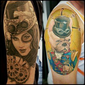 Steampunk tattoos. Bulldog based on Tak Sparks painting. #steampunk #frenchbulldog #bulldog #beauty #gears #clockwork