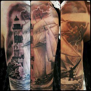 #schooner #tallship #sailing #sailingship #bluenose #nautical #nauticaltattoo #lighthouse #eastcoast #newfoundland