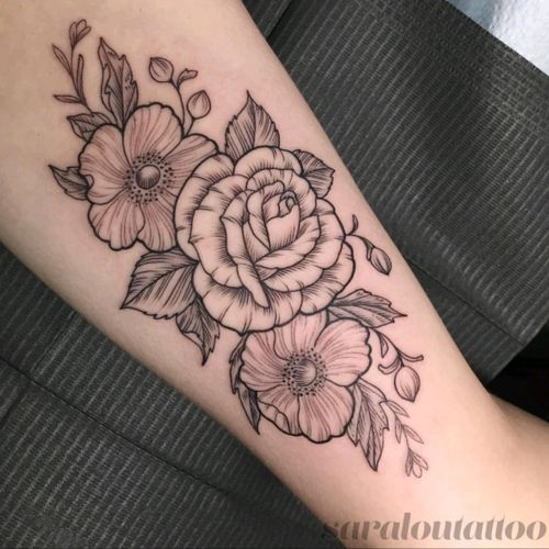 Inner bicep floral piece done by Sara at Incognito Tattoo in Los Angeles, CA.