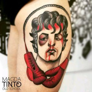 Rocky Balboa old school tattoo #oldschooltattoo #oldschool #rocky #rockybalboa #traditionaltattoo #boxinggloves #SylvesterStallone #balboa #magda_tinto @magda_tinto #traditional