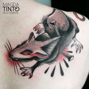 Old school rat tattoo #oldschool #oldschooltattoo #traditionaltattoo #rat #rattattoo #bloodtattoo #nail #nailtattoo #traditional
