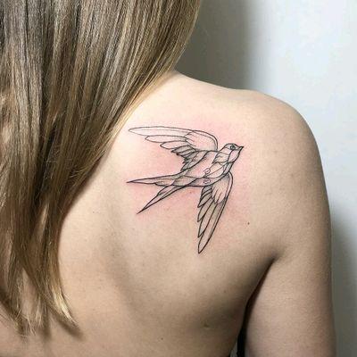 By #IraShmarinova #swallow #bird #linework #dotwork