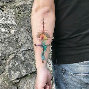 By #ResulOdabas #watercolor #arrow #abstract #sun #geometric