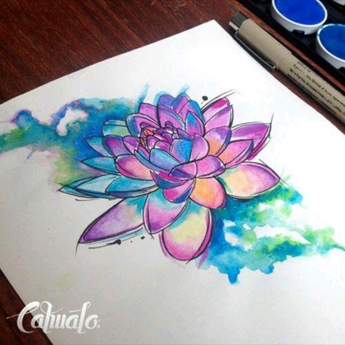 #Cahualo #Watercolor #LotusFlower #Desing #Sketch