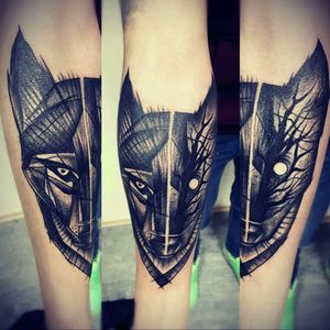 #wolf #blacwork #soon #with #hexagon #dotwork #in #the #background