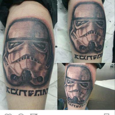 #tattooapprentice #tattoo #tattoodesign #starwarstattoo #starwars #stormtroopertattoo #stormtrooper #blackandgrey