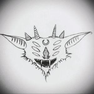 Evil❤ #tete #sketch #sketchtattoo #apprenticetattoo #tattooartist #darktattoo #bat #vamp #dark
